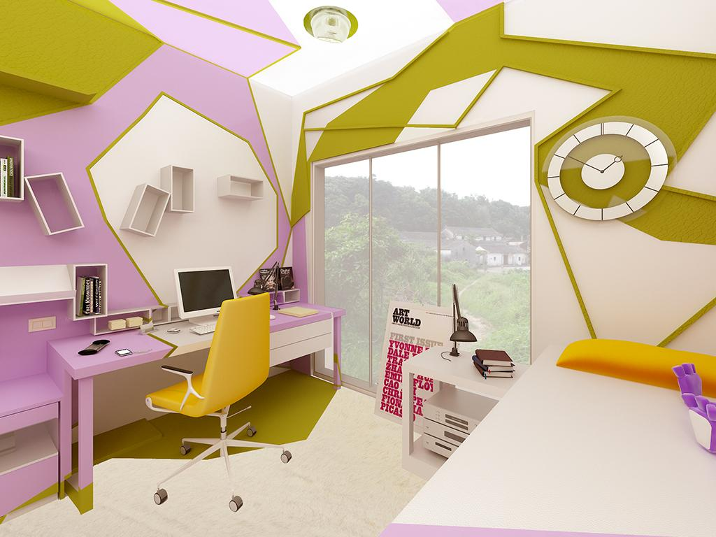 A teenage room by gemelli design for Graphic design interior design