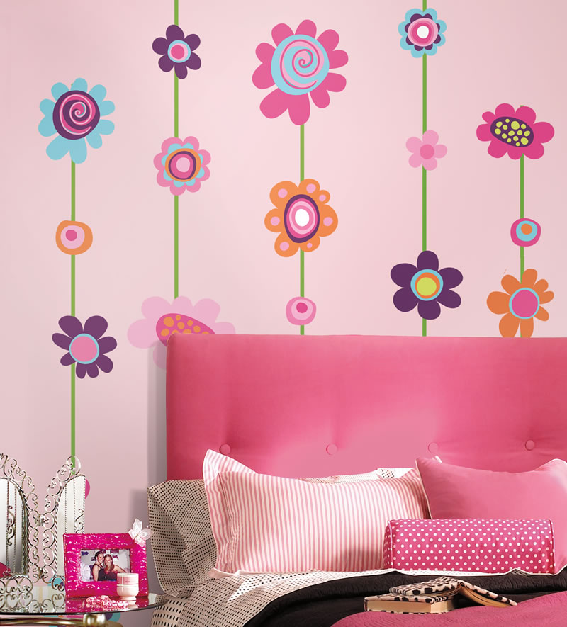 Wall sticker ideas for kids rooms - Flower wall designs for a bedroom ...