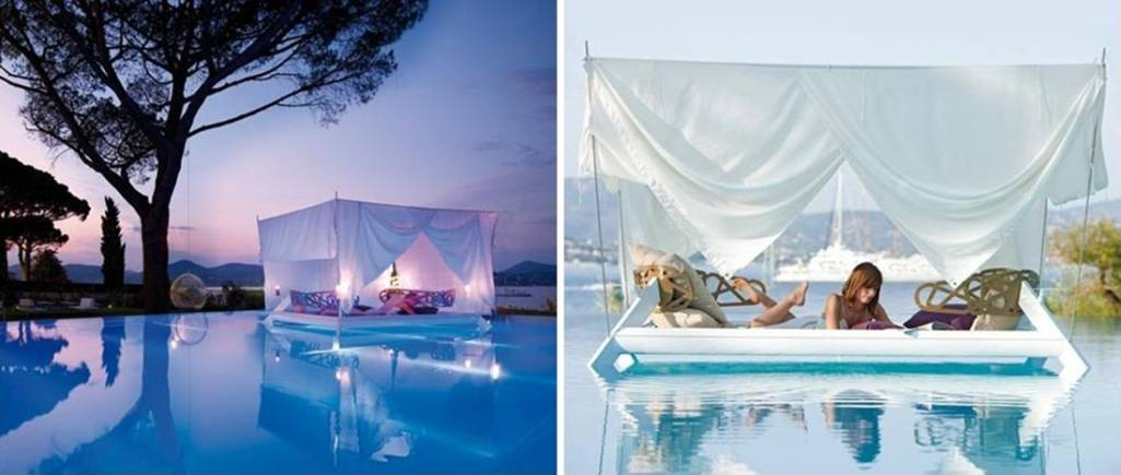 Floating beds for room and garden a swinging joy for Floating swimming pool paris