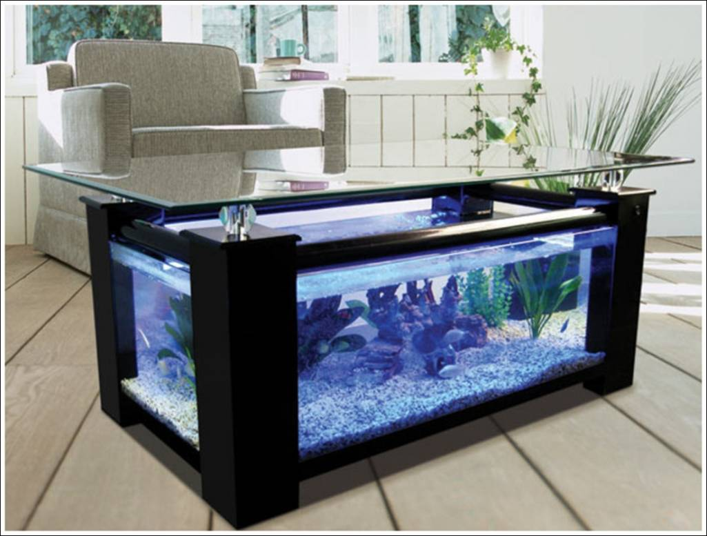 Fish tank living room table - Fish Tank Tables They Hold Alive Tranquility
