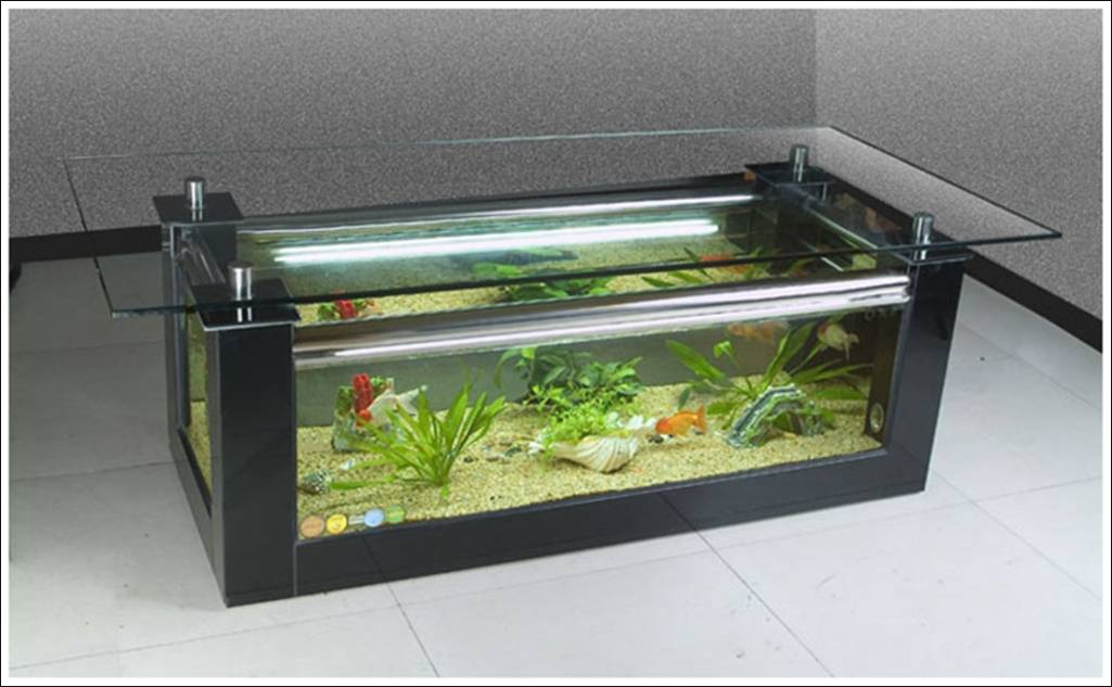 Fish tank tables they hold alive tranquility for Table salon aquarium