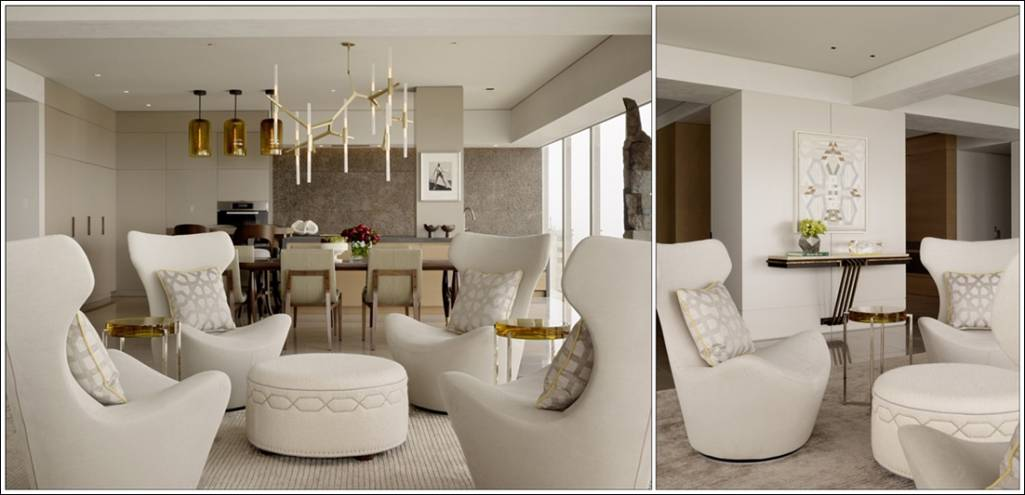 This Is A Very Futuristic Styled Living Where The Designer Has Used Beige Colour Combined In Dark And Light Shades Chairs Are Chic