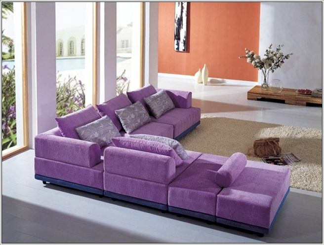 This sofa has a very fresh look with light purple coloured seating and a bluish base awesomely contrasting with the seating. : purple sectional sofa - Sectionals, Sofas & Couches