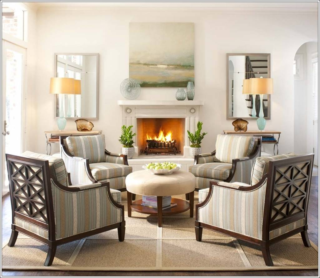 Living Rooms With Ottomans Brilliant Create Magic With Four Chairs In Living Room Inspiration