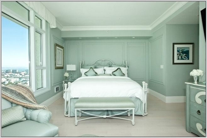This Room Has Everything Immersed In Celadon Shade Bedroom Beautiful White Bedding With Silky Green Throws