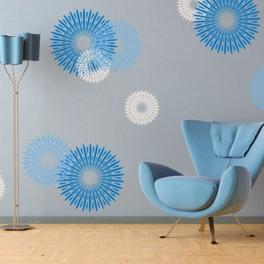 Modern-Blue-Circular-Design-Wall-Decals-Ideas