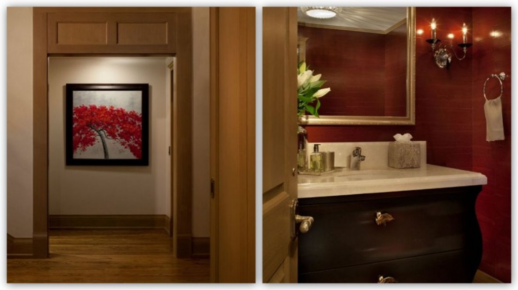 Earth tones for simplicity and warmth for Red accent bathroom