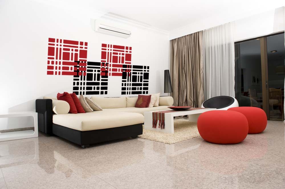 Contemporary Living Space With Modern Wall Decals