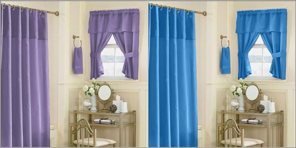 this one is a curtain set that is available in two colour options of blue and classy shower