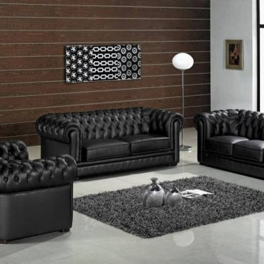 Luxury-black-leather-living-room-furniture-set