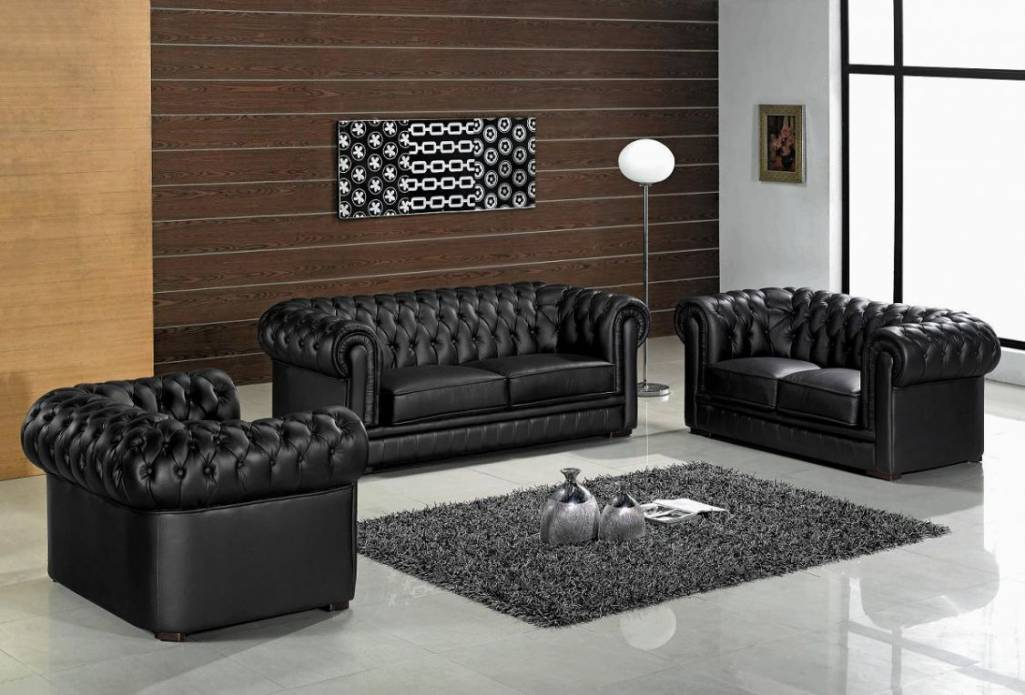 luxury black leather living room furniture