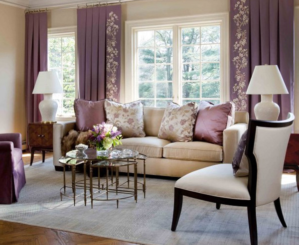 Decor your living room with purple hues - Beige and purple living room ...