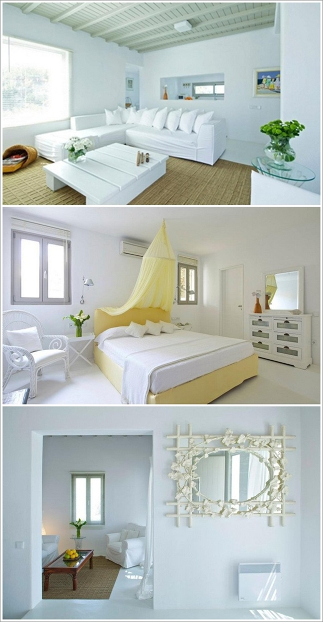Here The Designer Has Taken White As The Major Colour And Have Used Other  Colours Like A Tan Rug In First Picture, A Lemon Bed Crown In ...