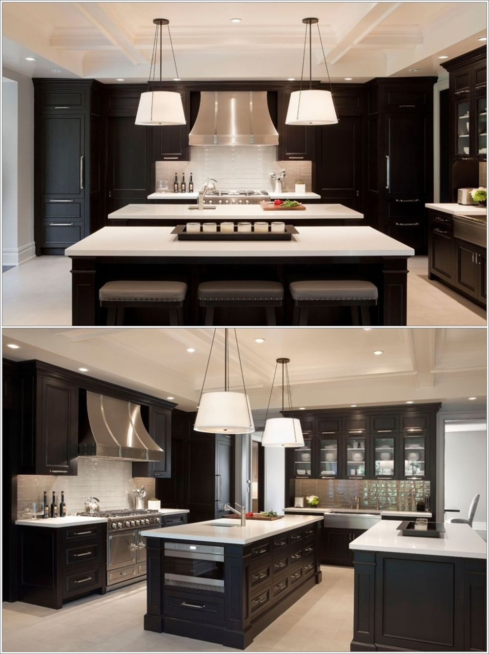 Uncategorized Two Island Kitchens double island kitchens more space fun this kitchen with its so elegant and contemporary appeal has a combination of dark brown beige the two islands are also in theme colour hi