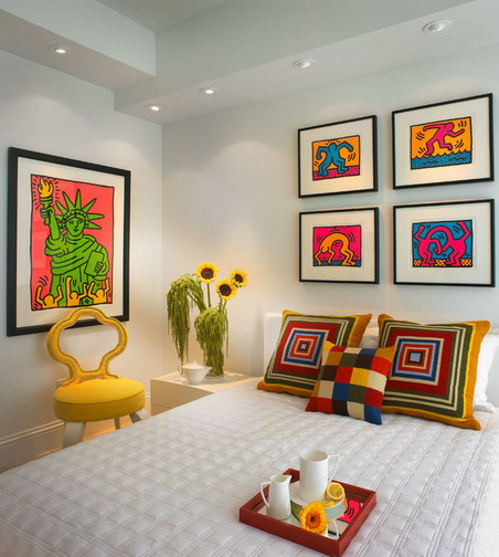 Attractive-and-Colorful-Wall-Art-Pictures-with-Corner-Side-Table-in-Contemporary-Bedroom-Interior-Design-Ideas