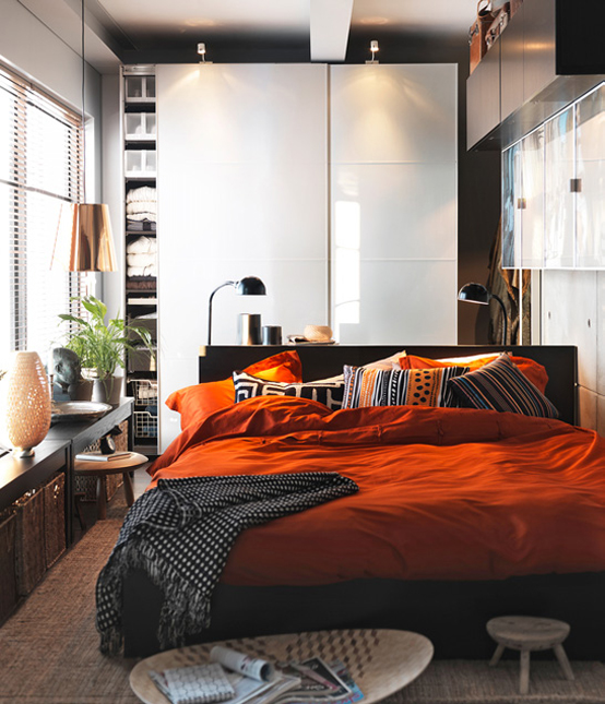 Small E Bedroom Design By Ikea Orange Pillows And Blanket In