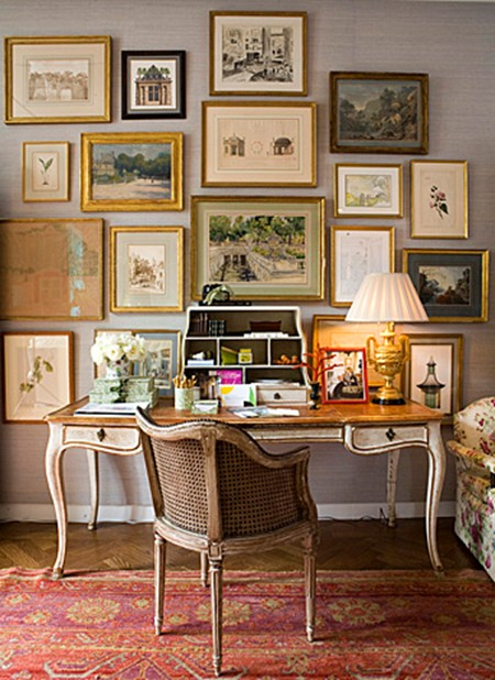 framed-art-collection-wall-decor-ideas-desk-home-office-elegant-interior-charlotte-moss