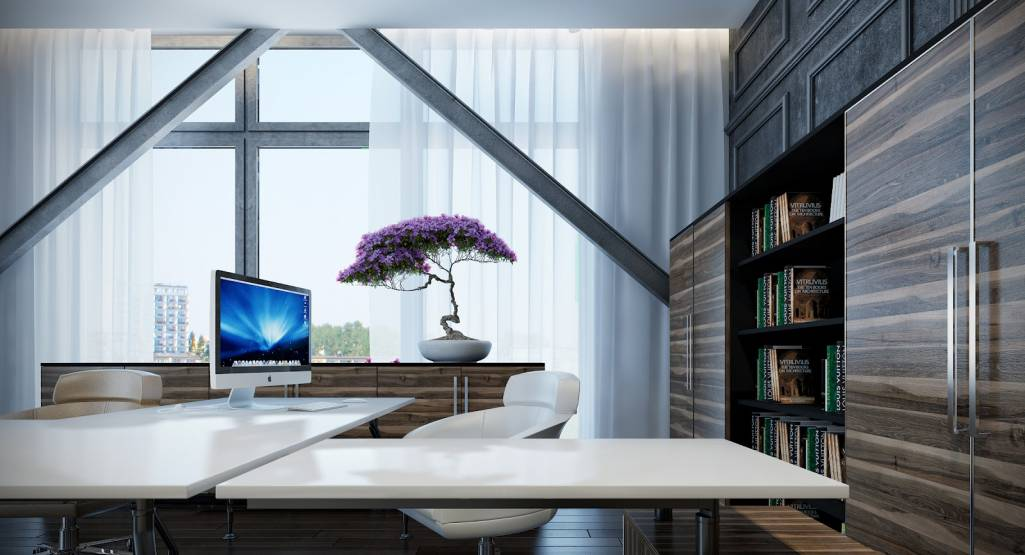 imac in elegant white home office desk and amazing elegant office decor