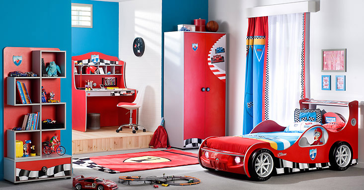 Racing cars beds for boy bedroom for Boy car bedroom ideas