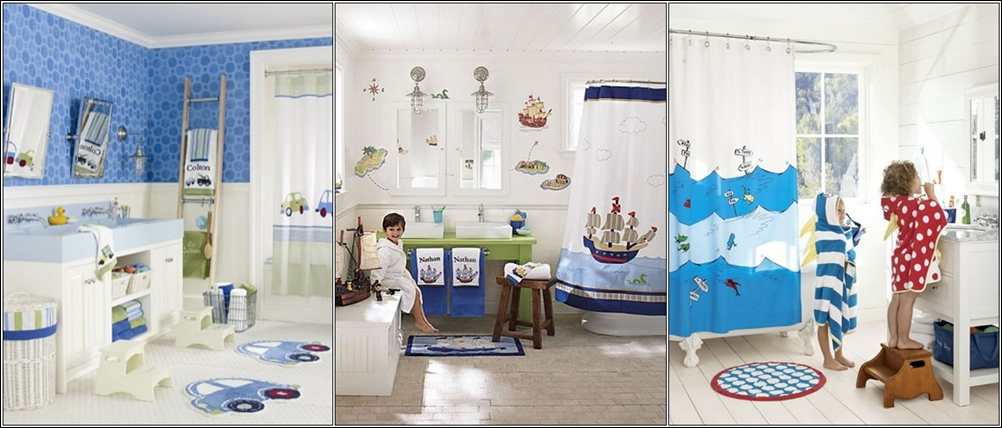 pottery barn kids these three bathrooms are specially designed for little boys who love cars and ships you can add these themes through the use of printed