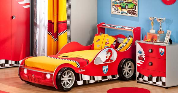 Racing cars beds for boy bedroom for Car room ideas