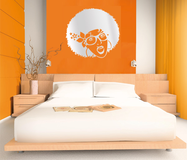 Retro and funky wall art sticker for cool bedroom.The sticker is ...