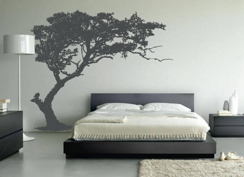Superb Contemporary Bedroom Wall Art Sticker Leaning Tree Wall Decal Bedroom  Decor 1130