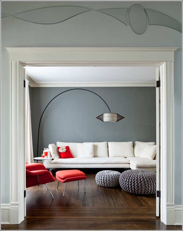 Bold red elegant grey and whimsical white interior - Red white interior design ...