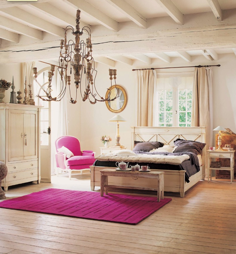 Adorable Pink Rug Design for Country Bedroom