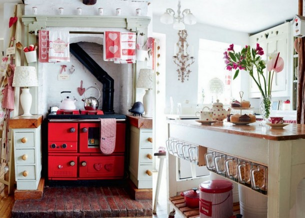 Adorable Red Vintage Kitchen Design