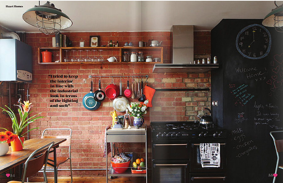 adorable and modern kitchen with brick wall design - Brick Wall Design