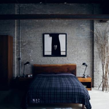 Artistic Brick Wall Bedroom