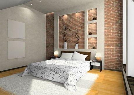 Bright Brick Wall Bedroom Interior