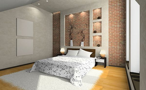 Bright Brick Wall Bedroom Interior