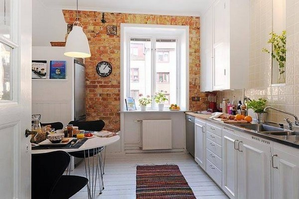Bare Brick Wall Simple Chandelier Swedish Kitchen Design Ideas with White Cabinet