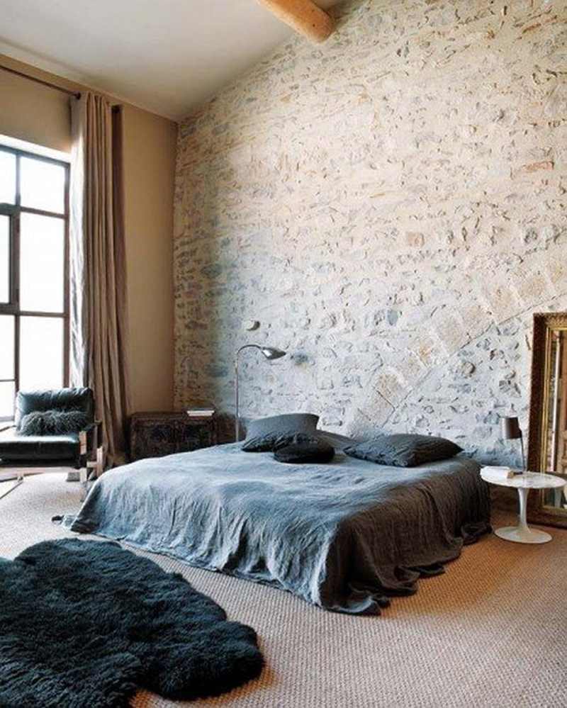 brick walls and collor pallet of bedroom