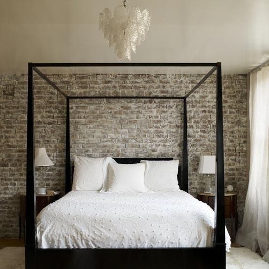 Minimalistic Brick Wall Bedroom Interior