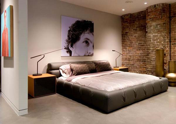 Bedroom brick wall design ideas for Bed wall design