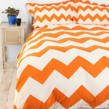 Orange chevron stripes Duvet Bedding