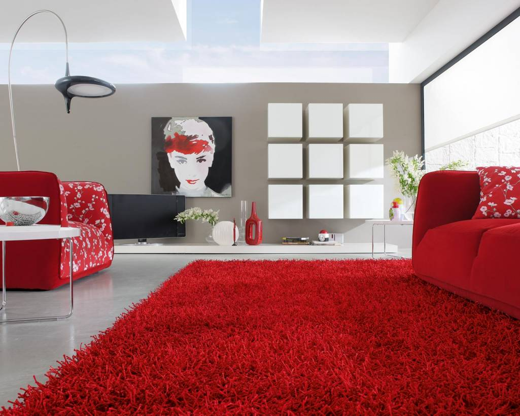 red stylish rug will give a special sensual note to every living room