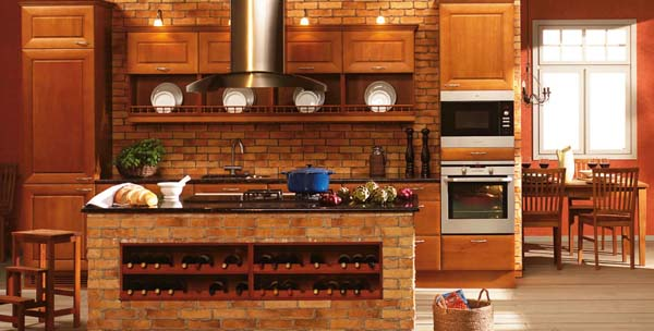 Traditional and Modern Brick Wall Kitchen