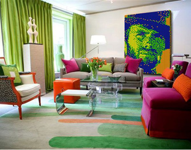 Pop art home decor for Living room designs pop