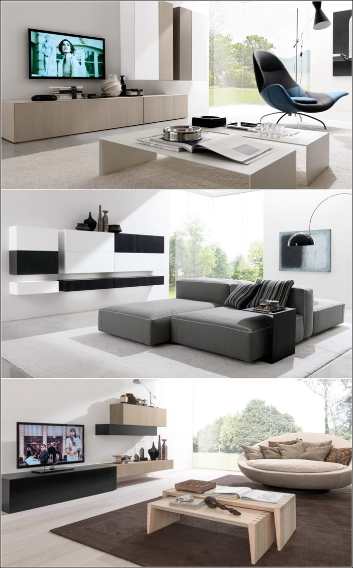 Contemporary wall units for your living area for Living area interior design