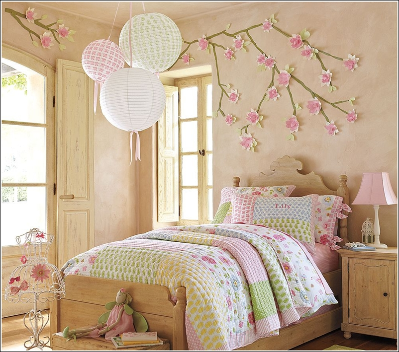 Flower themed rooms for little girls blooming with joy - Flower wall designs for a bedroom ...
