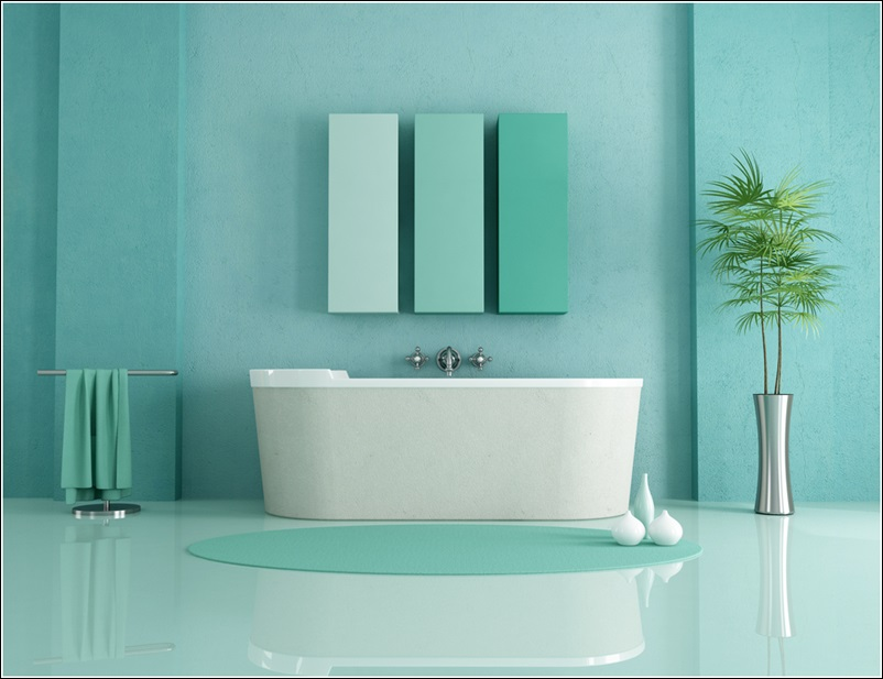 Bathrooms designed with serene aqua tones for Aqua blue bathroom accessories