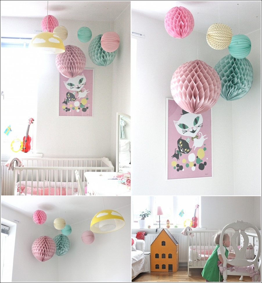 decorate your darling baby 39 s nursery with pom poms. Black Bedroom Furniture Sets. Home Design Ideas