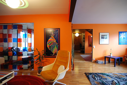 Artisitc Orange Living Room Design