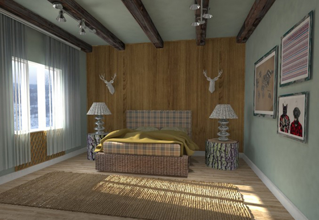 exposed wooden roof beams in bedroom