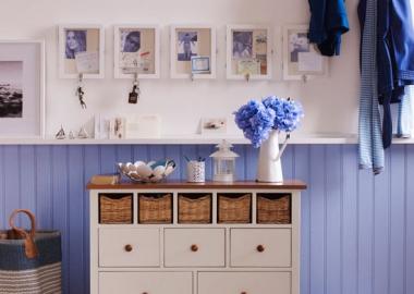 Blue and White Elegant Coastal Hallway