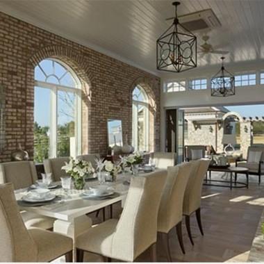 Classy Brick Wall Dining Room Design